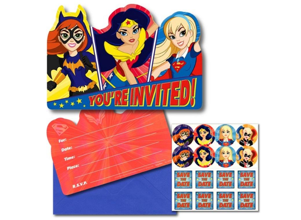 Super Hero Girls Invites 8pk
