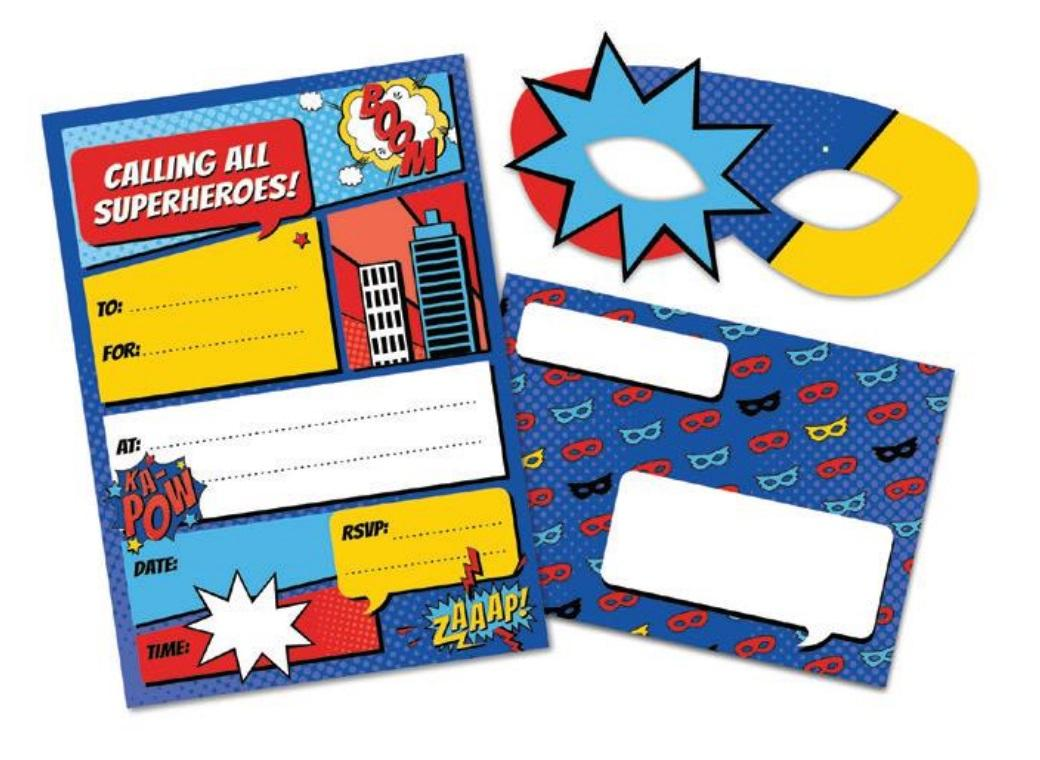 Super Hero Party Invites with Masks