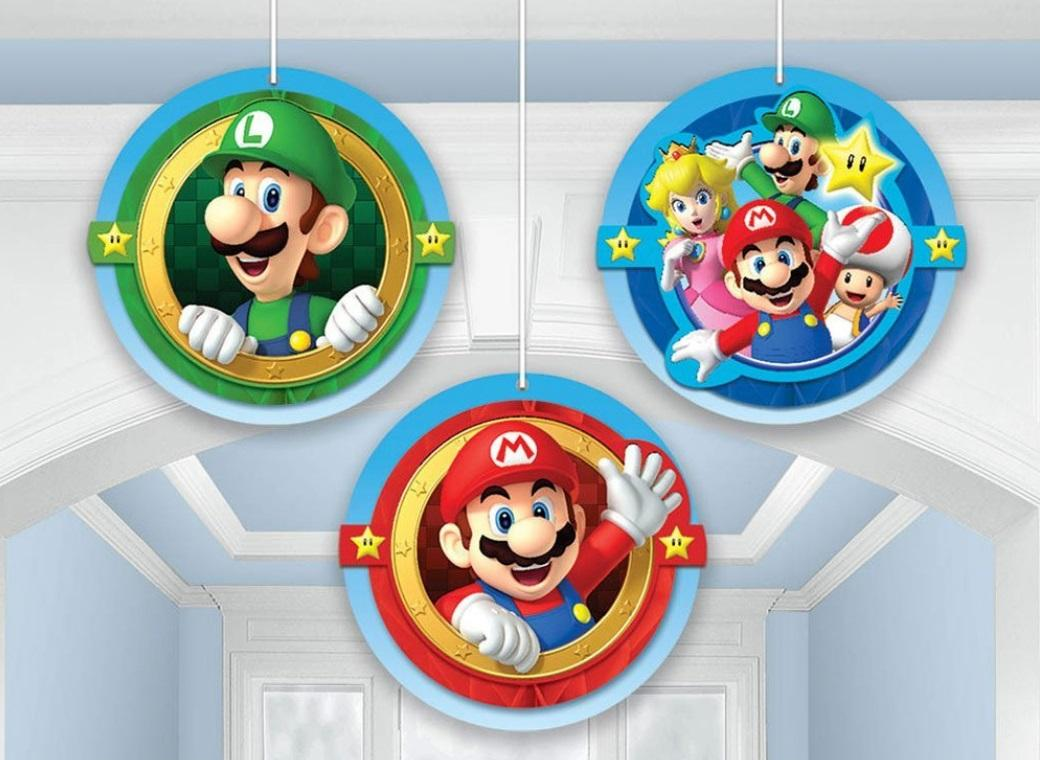 Super Mario Hanging Honeycomb Decorations