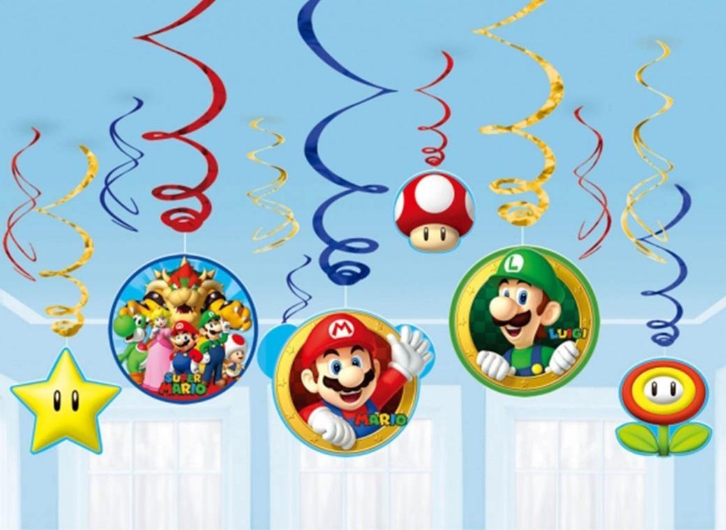 Super Mario Hanging Swirl Decorations