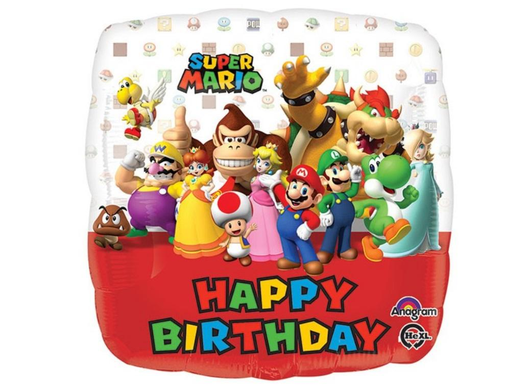 Super Mario Happy Birthday Foil Balloon