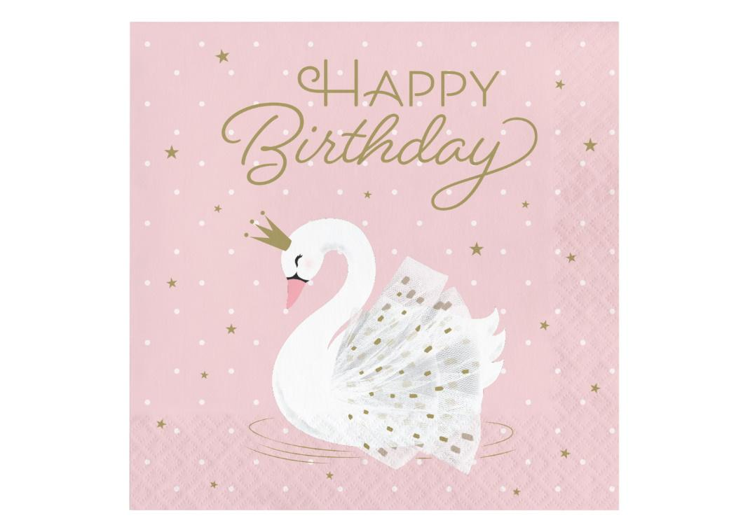 Swan Party Birthday Lunch Napkins 16pk