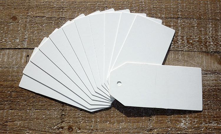 White Flat Angle Tags - 12pk