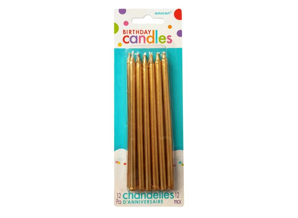 Tall Gold Candles 12pk