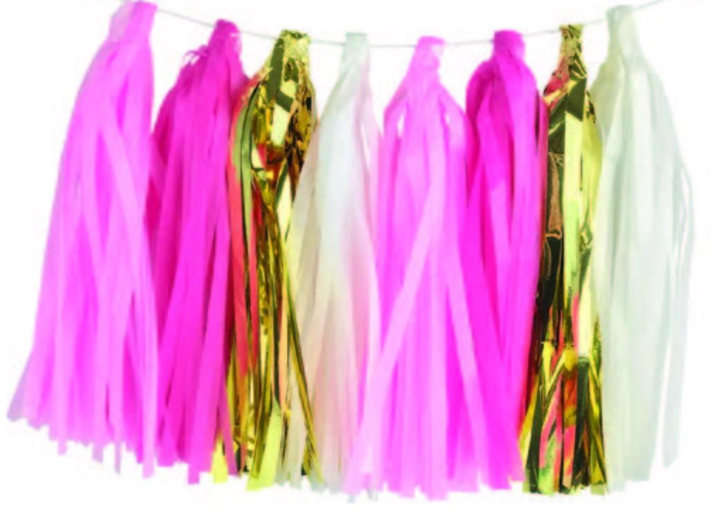 Tassel Party Garland - Pink & Gold