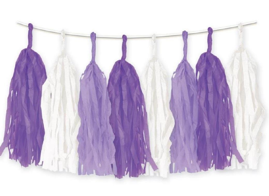 Tissue Tassel Party Garland - Purple