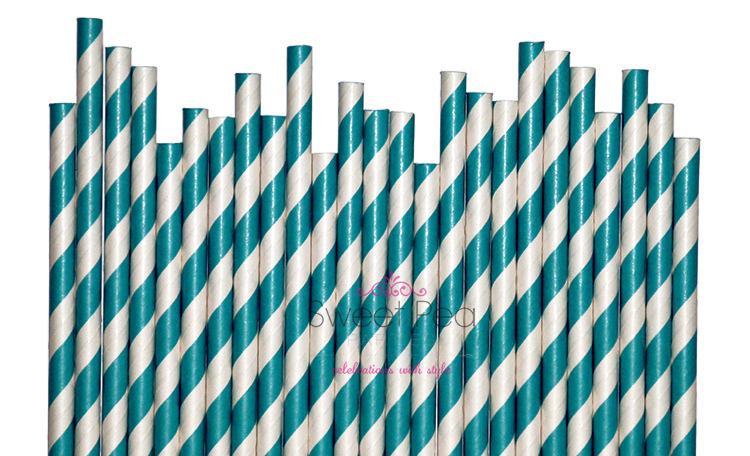 Paper Straws Teal Stripes