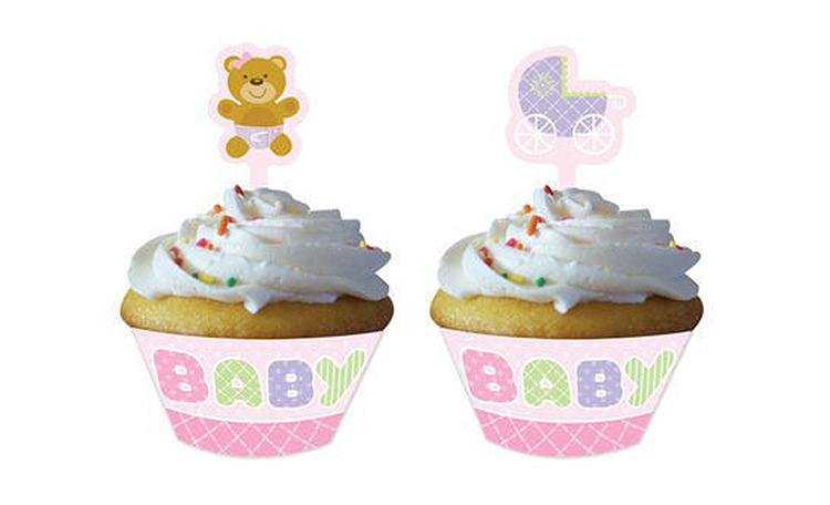 Cupcake Wrappers With Toppers - Teddy Baby Pink  - 12pk