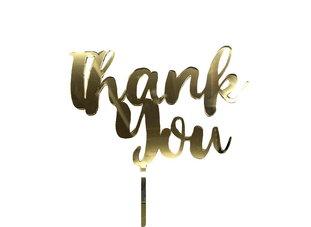 Thank You Cake Topper - Gold