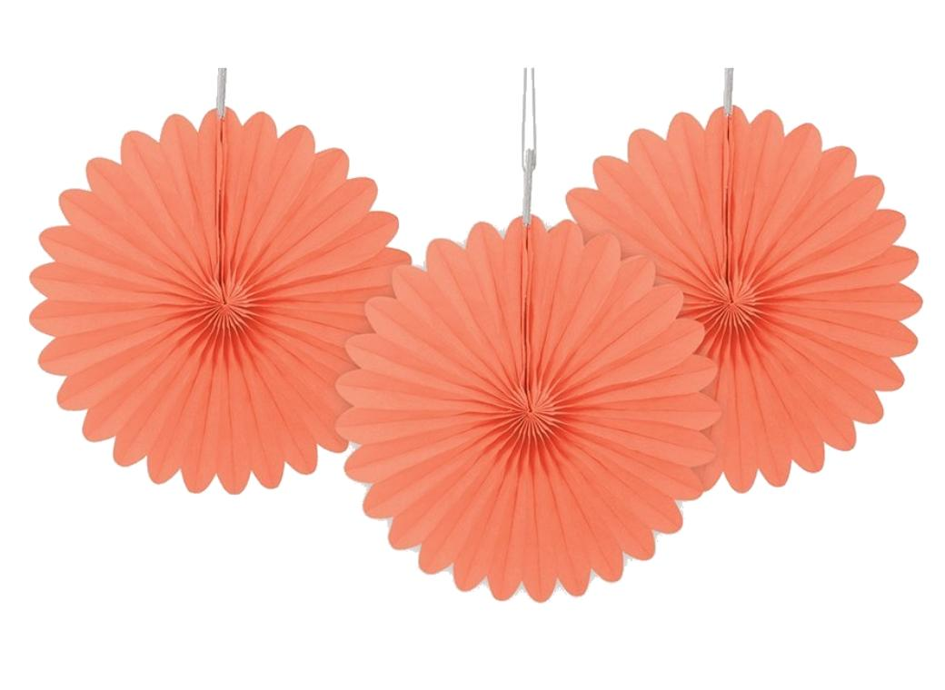 3 Pack Tissue Fans - Coral