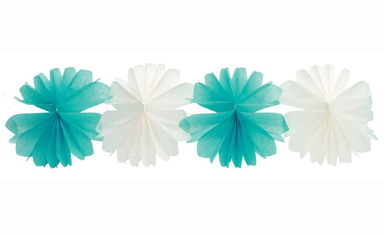 Tissue Flower Garland - Aqua&White