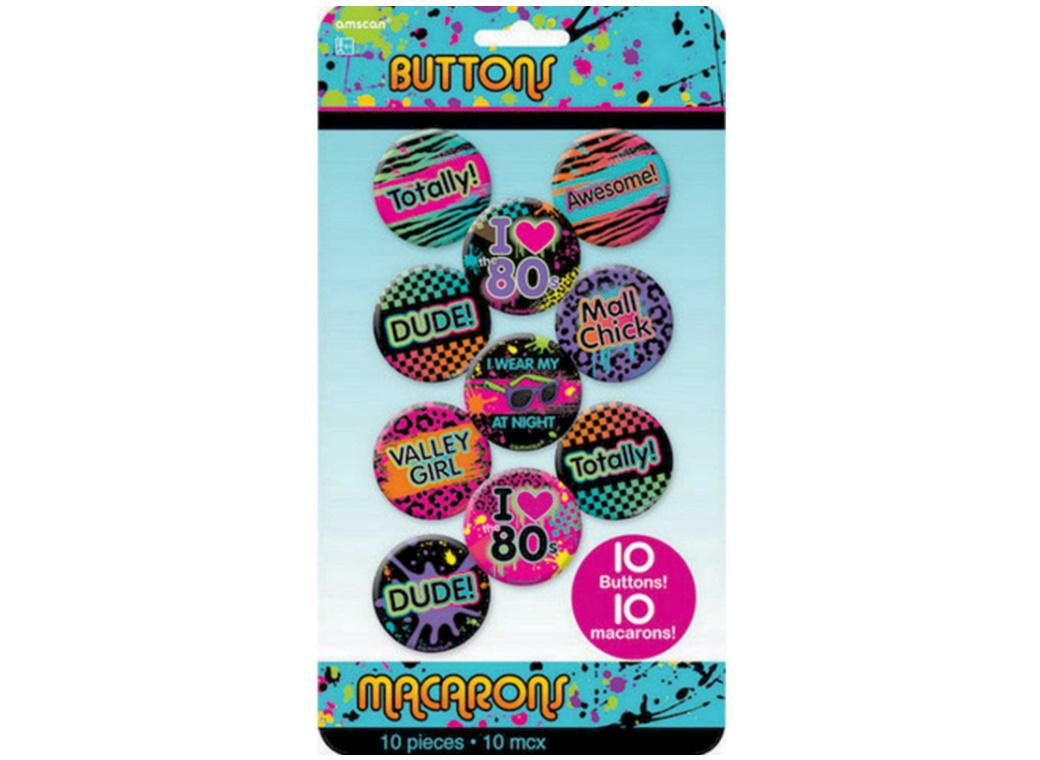 Totally 80s Buttons 10pk