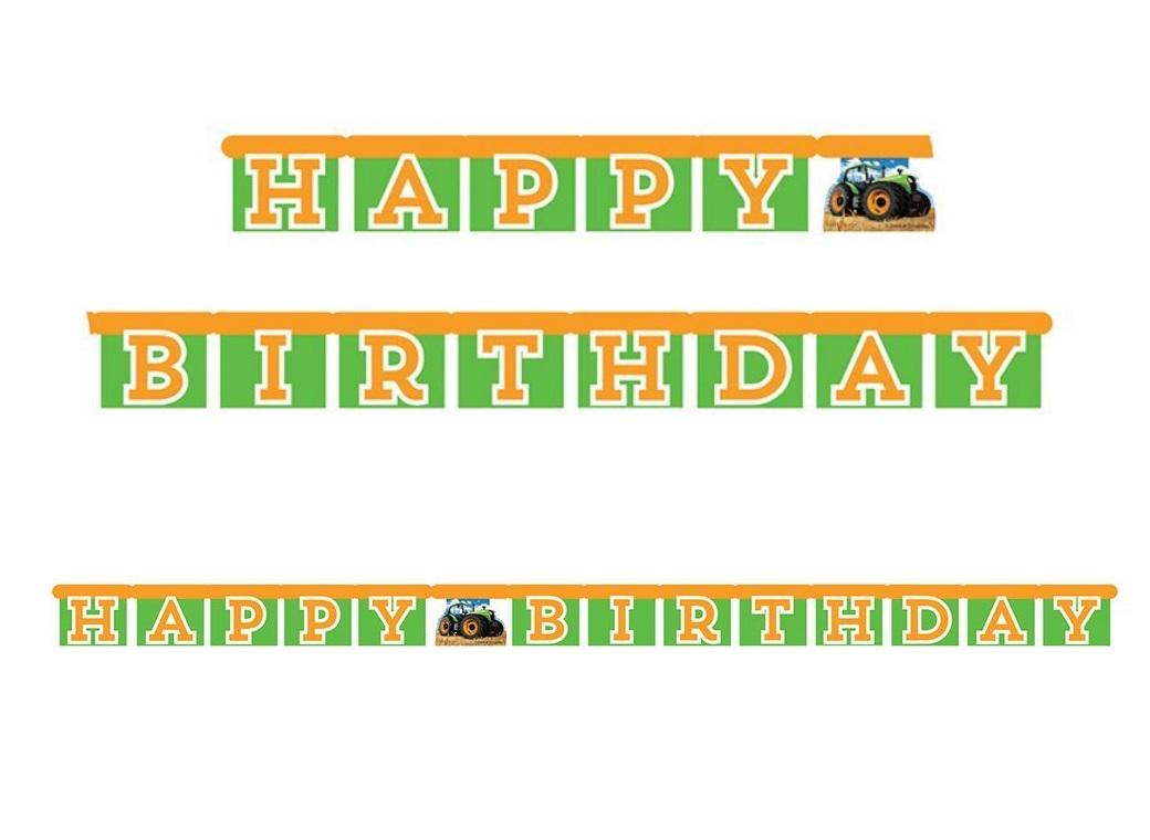 Tractor Time Happy Birthday Banner