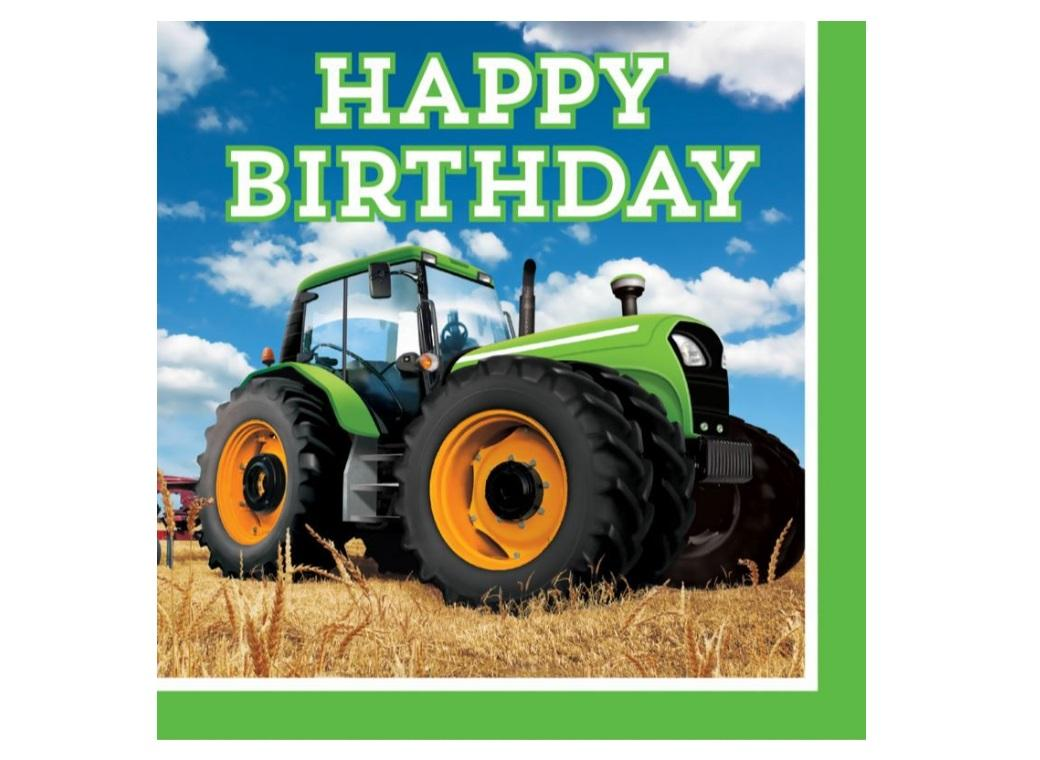 Tractor Time Happy Birthday Napkins - 16pk