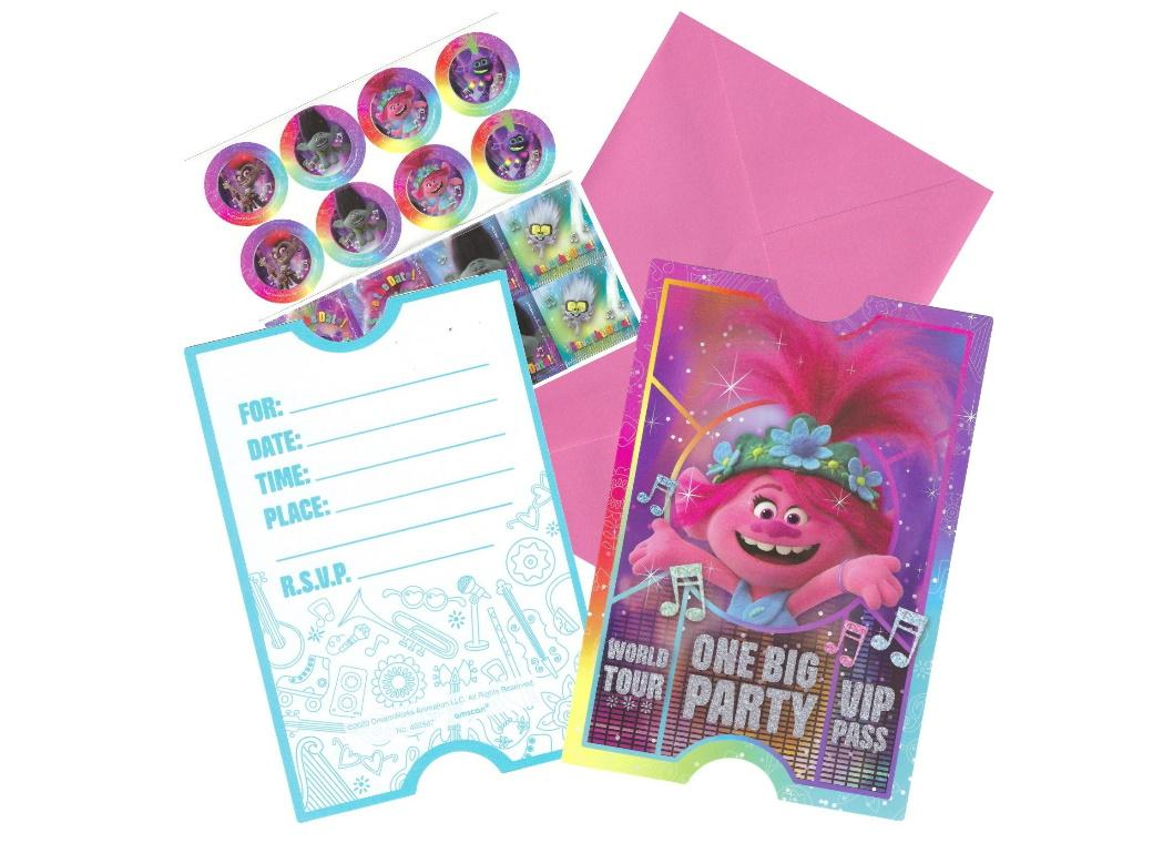 Trolls World Tour Invitations 8pk