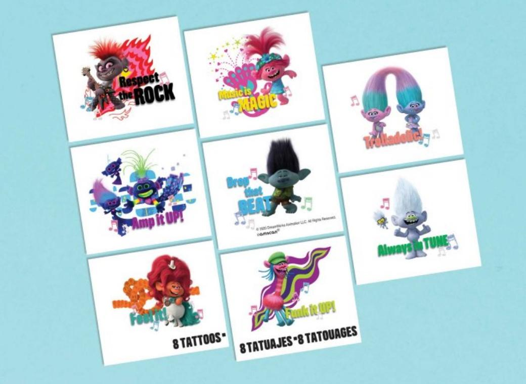 Trolls World Tour Metallic Tattoos