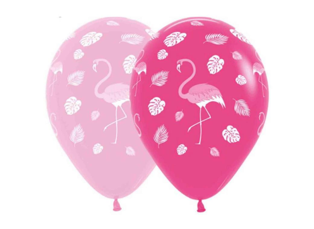 Tropical Flamingos Balloons 12pk