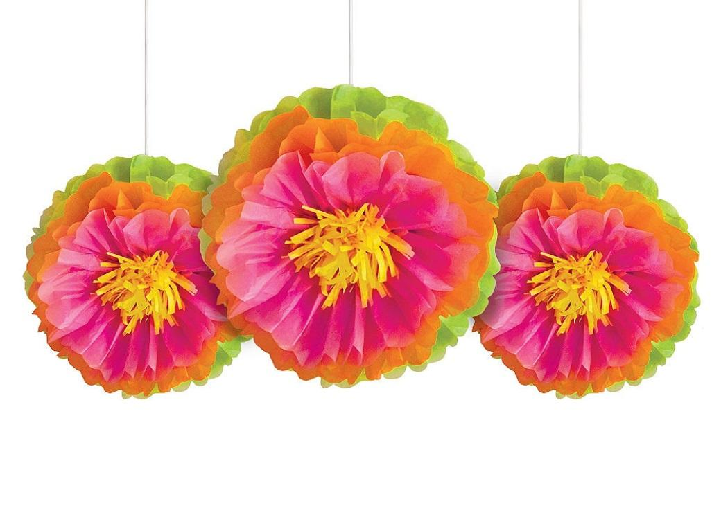 Tropical Flower Tissue Pom Poms 3pk