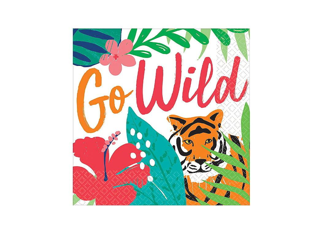 Tropical Jungle Go Wild Beverage Napkins 36pk