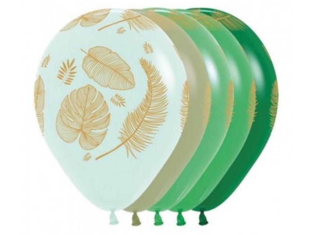 Tropical Leaves Green Balloons 5pk