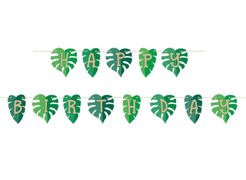 Tropical Leaves Birthday Banner