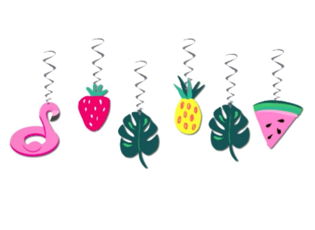 Tropical Party Hanging Swirls 6pk
