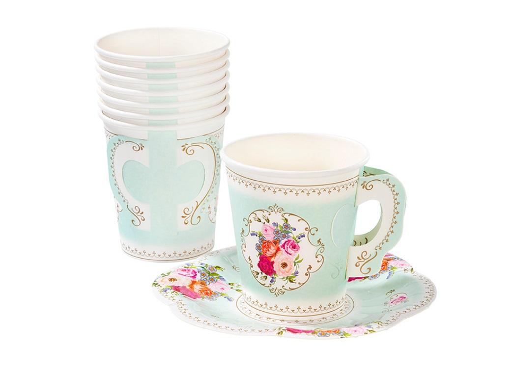 Truly Scrumptious Mint Teacups & Saucers 12pk