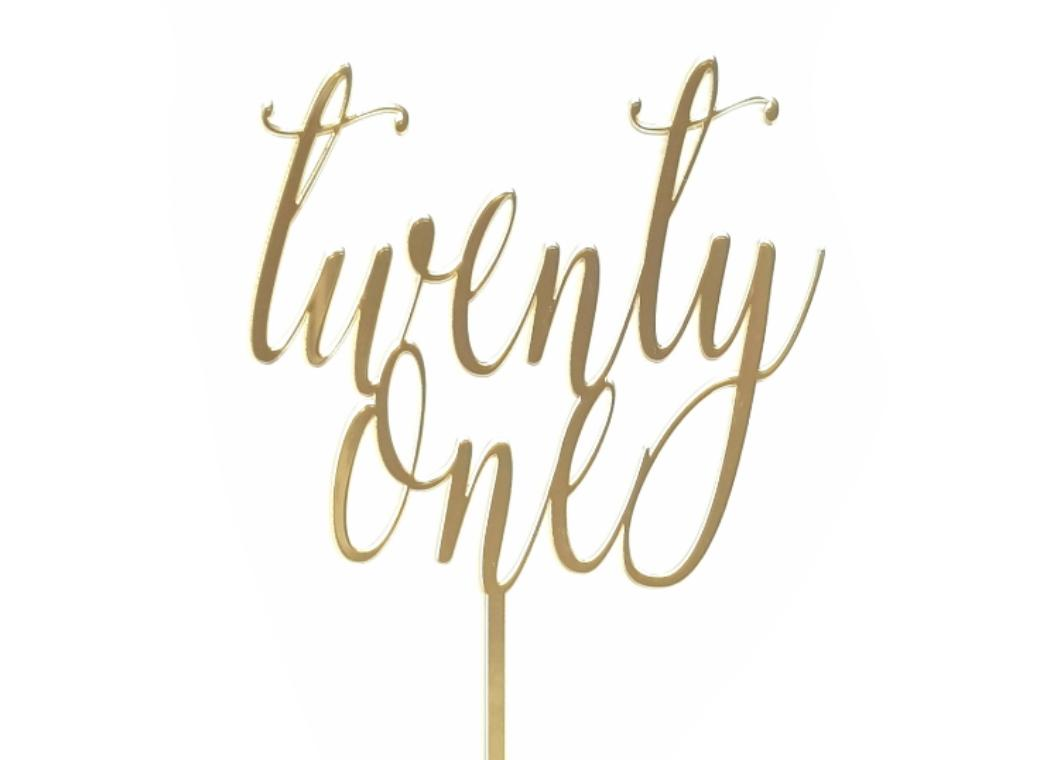 Twenty One Script Cake Topper - Gold Mirror