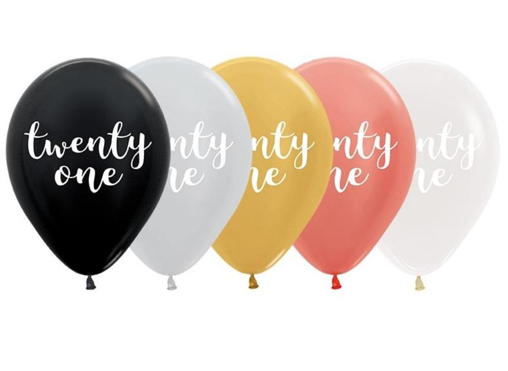 Metallic Twenty One Balloons 5pk