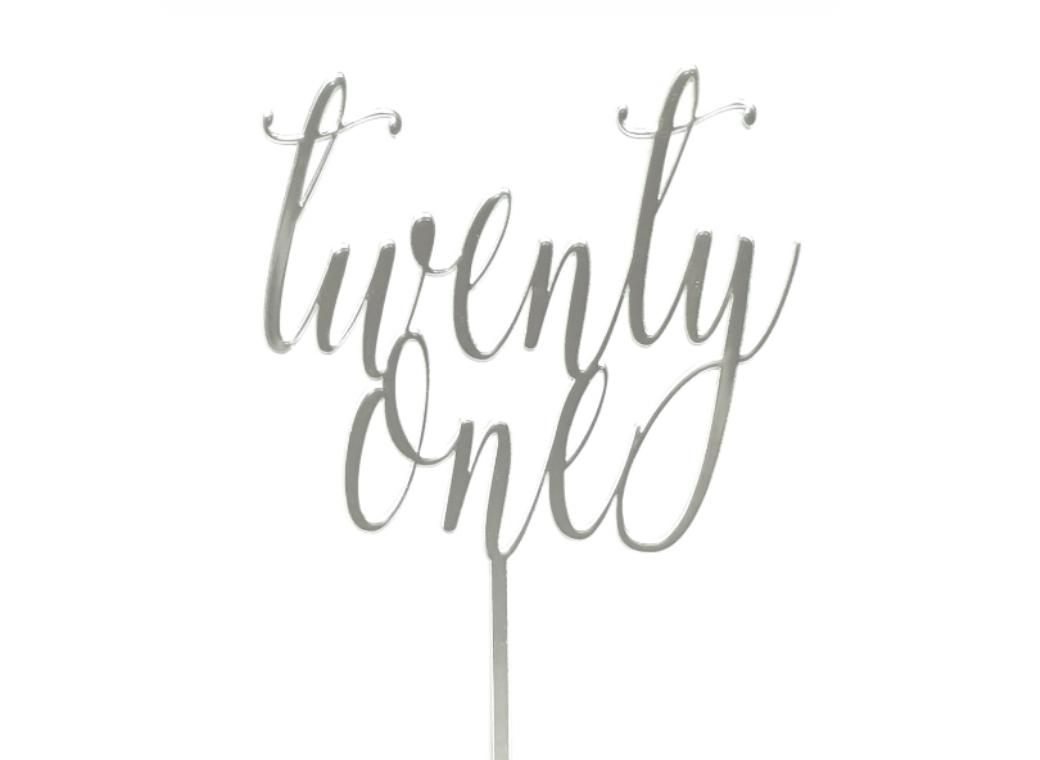 Twenty One Cake Topper - Silver Mirror