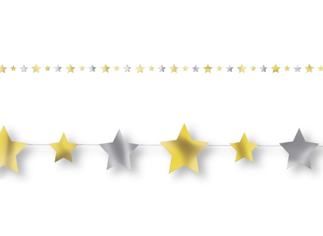 Gold & Silver Stars Garland