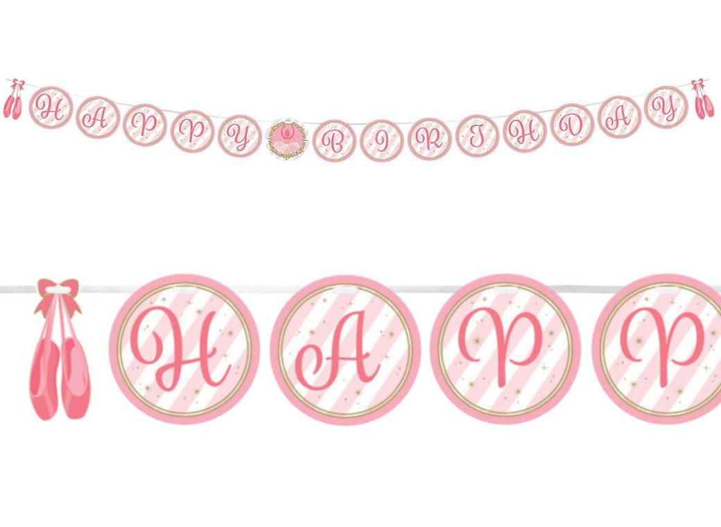 Twinkle Toes Ballerina Happy Birthday Banner