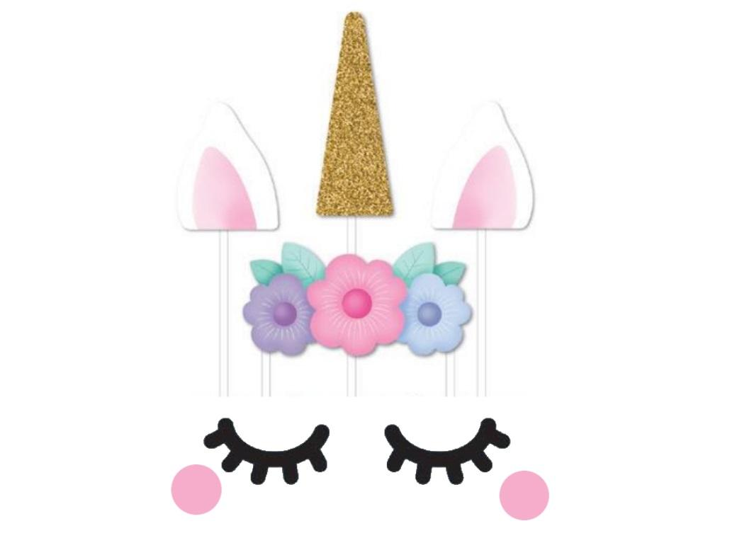 Unicorn 8 Piece Cake Topper Set