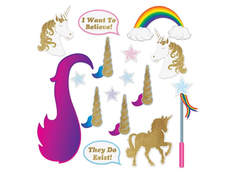 Unicorn Glitter Photo Booth Props 16pk