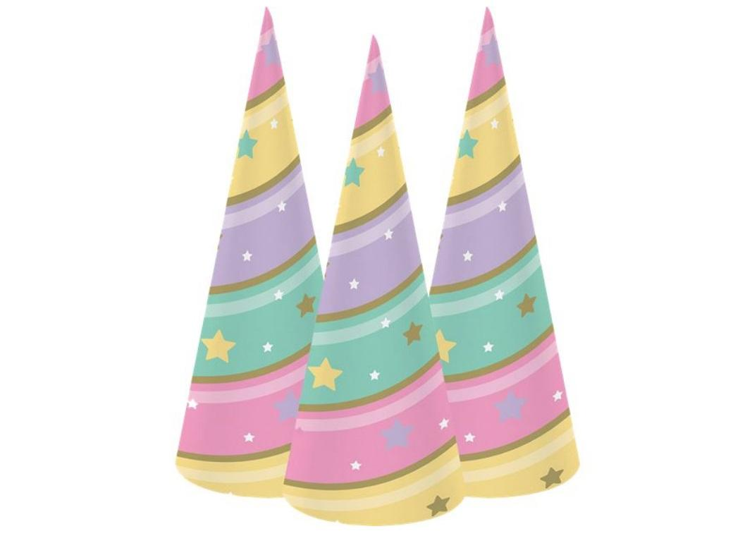 Unicorn Sparkle Horn Party Hats 8pk