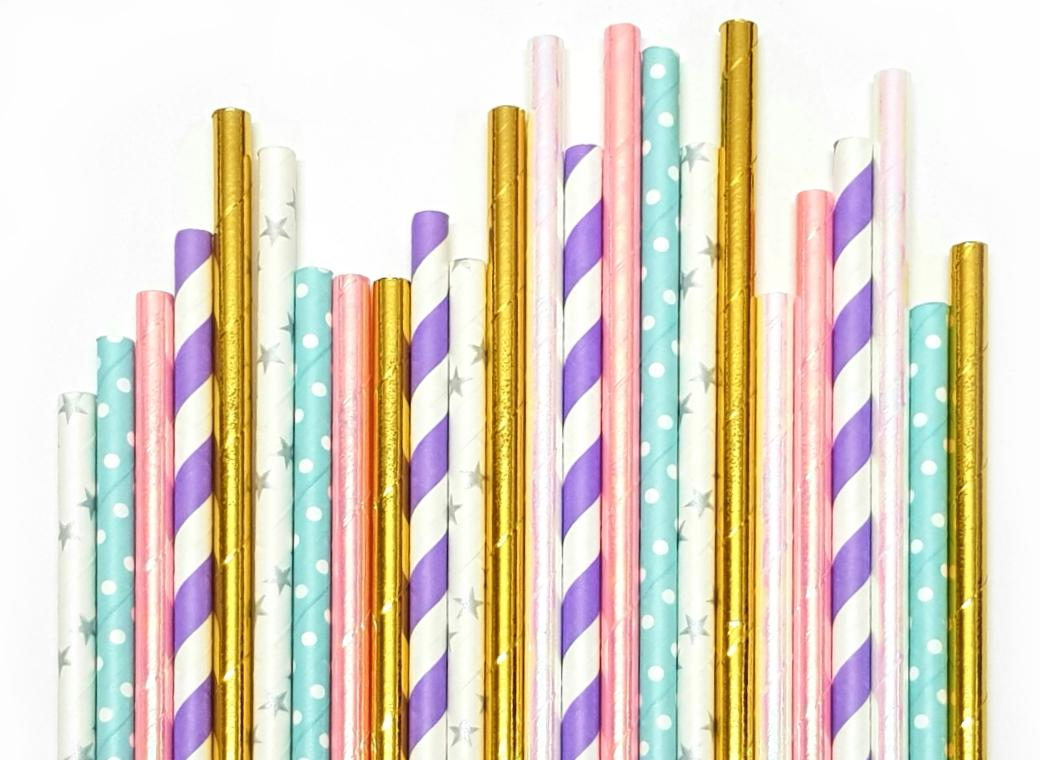 Paper Straws Mix 25pk - Unicorn