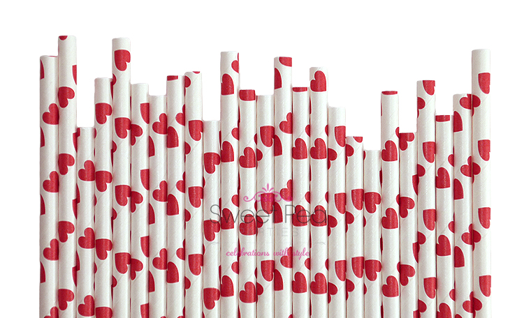 Paper Straws Red Hearts