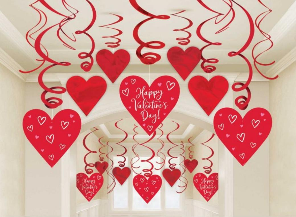 Valentine's Day Hanging Swirl Decorations