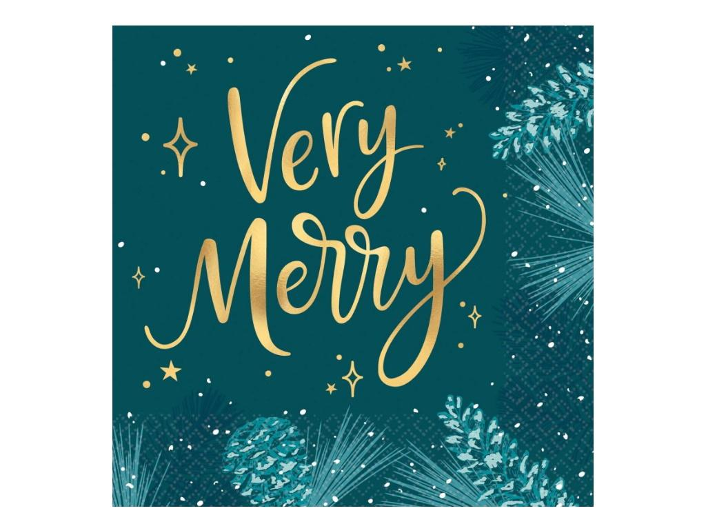 Very Merry Teal Lunch Napkins 16pk