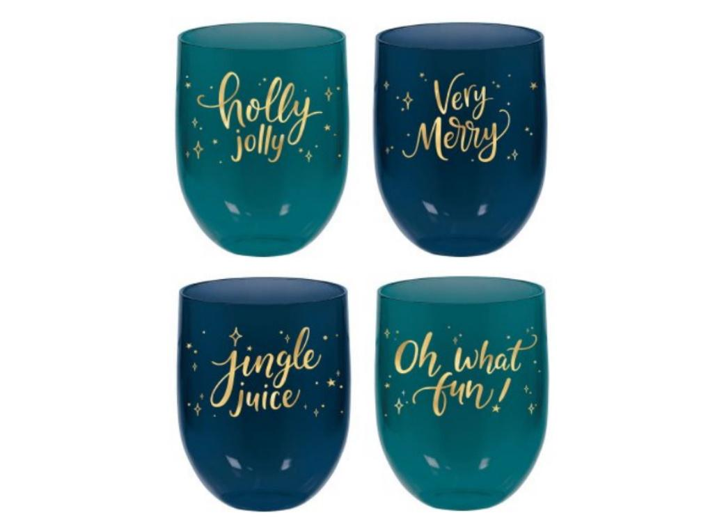Very Merry Teal Stemless Wine Glasses 4pk