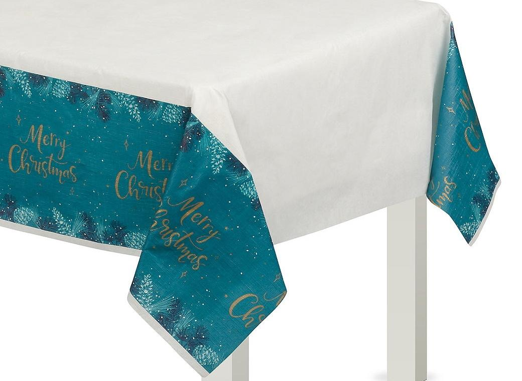 Very Merry Teal Paper Tablecover