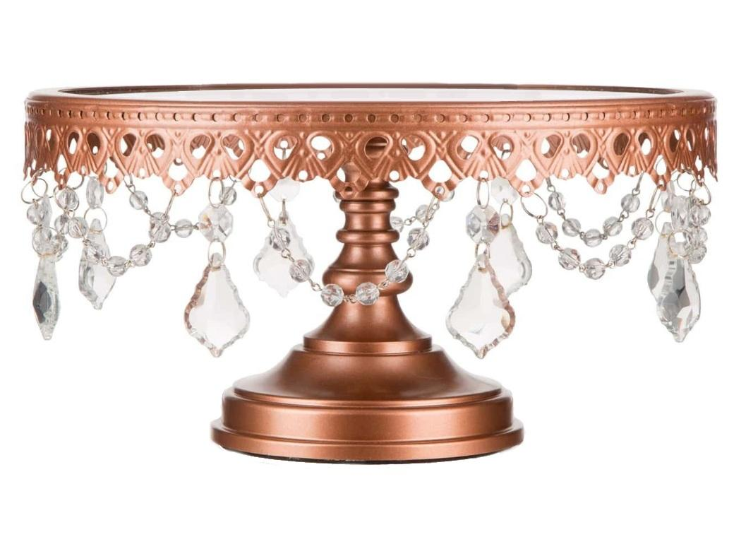 Victoria Glass Top Rose Gold Cake Stand - choice of 3 sizes