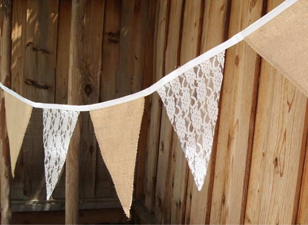 Hessian Bunting - Vintage Lace