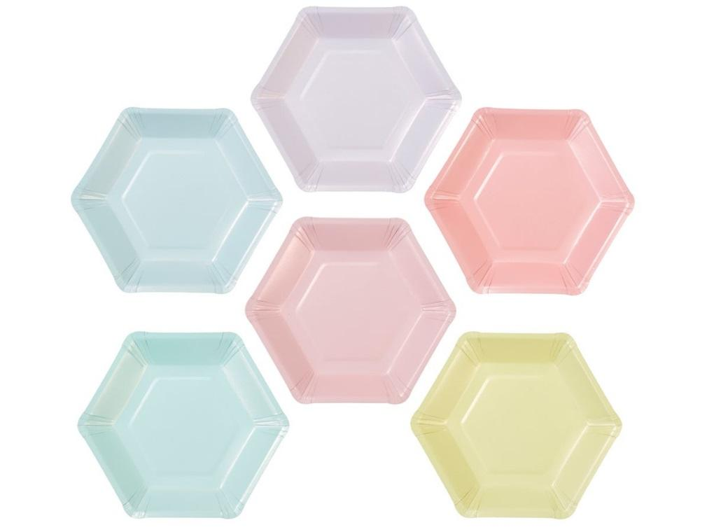 We Heart Pastel Hexagonal Plates 12pk