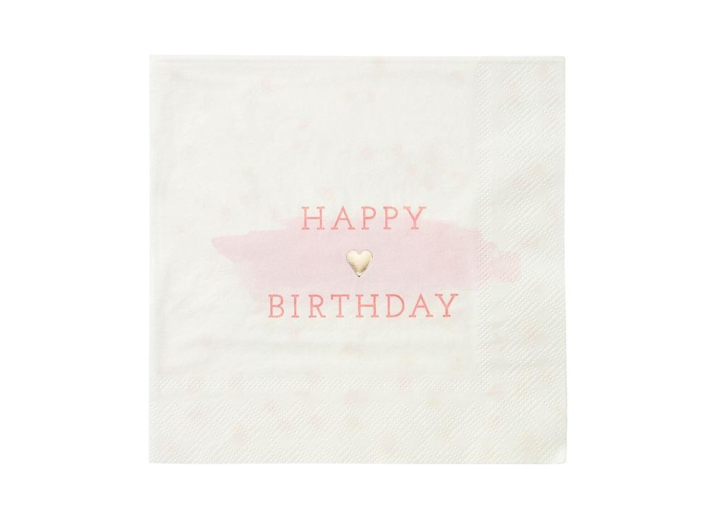 We Heart Pink - Happy Birthday Napkins