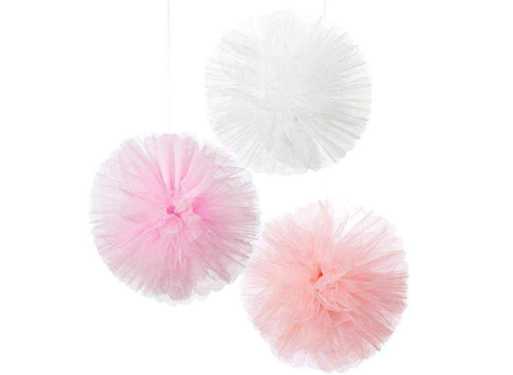 We Heart Pink Tulle Pom Poms 3pk
