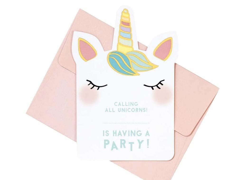 We Heart Unicorns Invitations 8pk