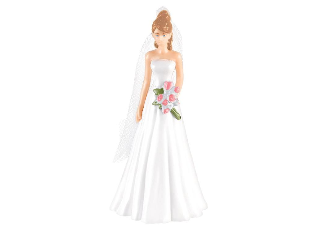 Wedding Cake Topper - Bride Brown Hair