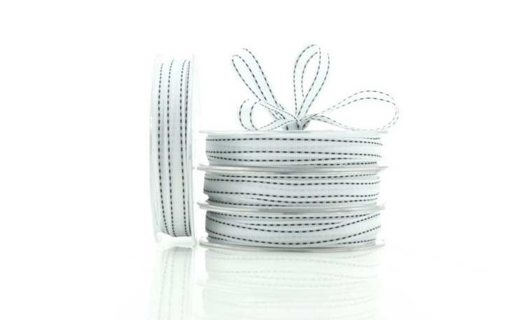 Grosgrain Ribbon - White & Black