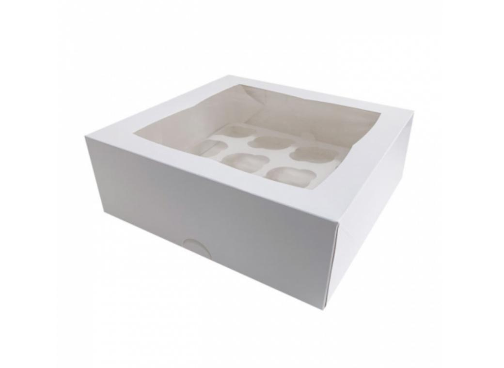 White Cupcake Box 4in 12-Hole
